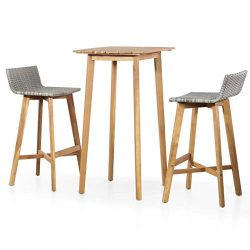 Festnight 3 Piece Bar Table Set Counter Height Dining Table with 2 Stool Acacia Wood Pub Set for ...