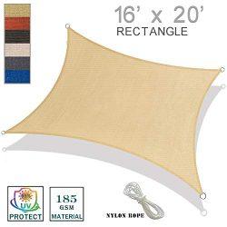 SUNNY GUARD 16′ x 20′ Sand Rectangle Sun Shade Sail UV Block for Outdoor Patio Garden