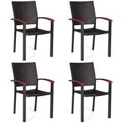 Tangkula Dining Chairs Outdoor Outdoor Indoor Garden Beach Lawn Patio Armchair Set with Eucalypt ...