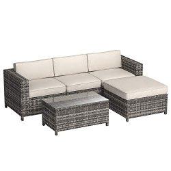 AmazonBasics 5-Piece Patio PE Wicker Rattan Sectional Furniture Set
