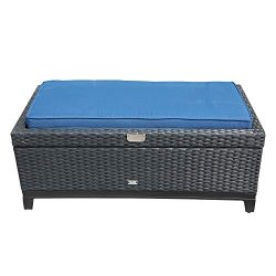 Orange-Casual Outdoor Patio Storage Ottoman, All-Weather Wicker Rattan Ottoman with Cushion& ...