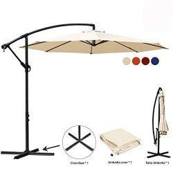 JEAREY Patio Umbrella 10 Ft Offset Cantilever Umbrellas Outdoor Market Hanging Umbrella & Cr ...