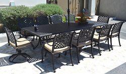 Nassau Cast Aluminum Powder Coated 11-Piece Dining Set with 46″x120″ Rectangle Table ...