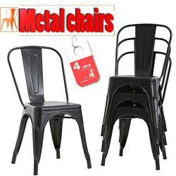 FDW Metal Dining Chairs Set Of 4 Indoor Outdoor Chairs Patio Chairs Kitchen Metal Chairs 18 Inch ...