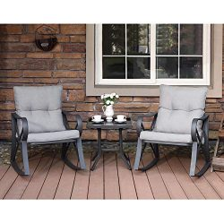 COSIEST 3-Piece Outdoor Patio Furniture Dark Gray Rocking Chairs Bistro Set w Warm Gray Cushions ...