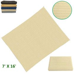 Eden's Decor Flat-Edged Rectangular 7′ X 16′ Beige UV-Blocking Sun Shade Sail  ...