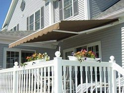 MCombo 12'x10′ Manual Retractable Patio Awning Sunshade Shelter Window Door Awning C ...