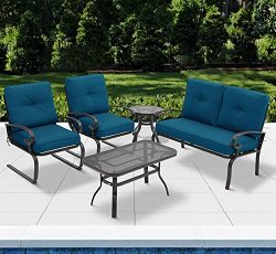 Incbruce 5Pcs Outdoor Patio Furniture Conversation Sets (Loveseat, Coffee Table and Bistro Table ...