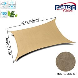Petra's 20 Ft. X 10 Ft. Rectangle Sun Sail Shade. Durable Woven Outdoor Patio Fabric w/Up  ...