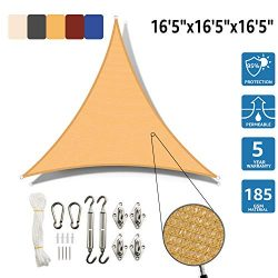 SunnyJoy Triangle 16.5'x16.5'x16.5′ Sun Shade Sail with Stainless Steel Hardwa ...