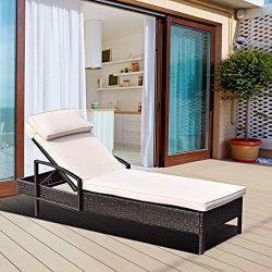 Tangkula Patio Chaise Lounge, Outdoor Reclining Wicker Rattan Chaise, Beach Pool Yard Porch Adju ...