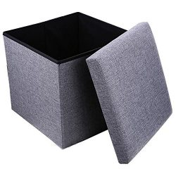 Geartist GOO1 Linen Folding Organizer Storage Ottoman Bench Footrest Stool Coffee Table Cube, Ca ...