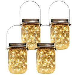 Homeleo 4 Pack Vintage Outdoor Solar Mason Jar Light Set(Lid Lights,Mason Jars,Hangers Included) ...