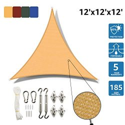 SunnyJoy Triangle 12'x12'x12′ Sun Shade Sail with Stainless Steel Hardware Kit ...