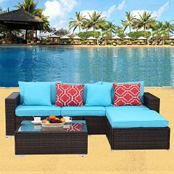 HTTH 4 Pcs Outdoor Patio Furniture Sets Rattan Soft Wicker Set,Outdoor Indoor Use Backyard Porch ...