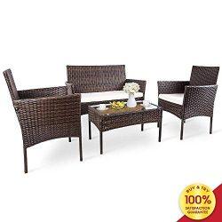 Romatlink, 4 Pieces Outdoor Rattan Patio Furniture Set, Modern Wicker Conversation Sofa Chairs w ...