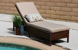 Living Essentials Outdoor Chaise Lounge, Primrose Rattan Wicker Lounge Chair Set Adjustable Back ...