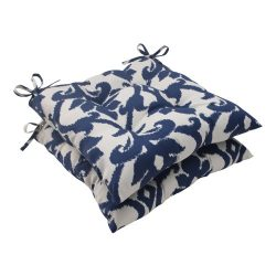 Pillow Perfect Outdoor Bosco Tufted Seat Cushion, Navy, Set of 2