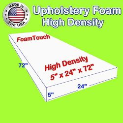 FoamTouch Upholstery Foam Cushion High Density, Made in USA, 5″ H x 24″ W x 72″ L