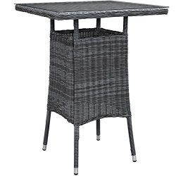 Modway Summon Square Outdoor Patio Bar Table With Tempered Glass Top, Espresso