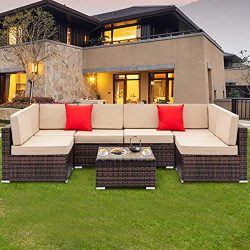 Tenozek 7 Pieces Outdoor Furniture Patio Sectional Sofa Wicker Patio Set All Weather PE Rattan C ...