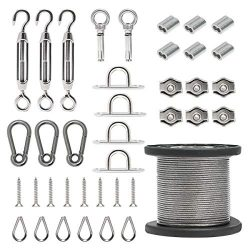 Byshun Outdoor Light Hanging Kit,Globe String Light Suspension Kit,164ft Stainless Steel Cable L ...