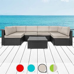 Walsunny 7pcs Patio Outdoor Furniture Sets,Low Back All-Weather Rattan Sectional Sofa with Tea T ...