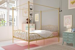 DHP Canopy Metal Bed with Sturdy Bed Frame, Gold, Full