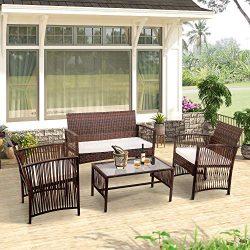 Merax 4-Piece Patio Furniture Set Outdoor Garden Lawn Pool Rattan Sofa Wicker Conversation Set C ...