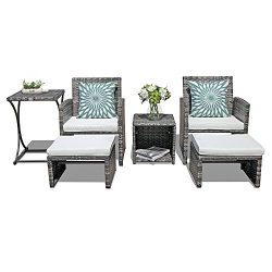 Orange Casual Patio 6 Pieces Wicker Conversation Set Outdoor Furniture Sets with Side Table & ...