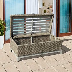 OC Orange-Casual Outdoor Storage Box Wicker Storage Bench Fully Assembled Resin Deck Box with Se ...