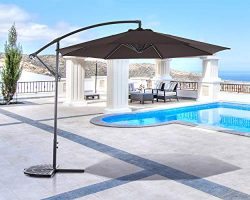 SUNCREAT 10FT Offset Cantilever Umbrella Patio Outdoor Hanging Umbrella with Crank Lift and Cros ...