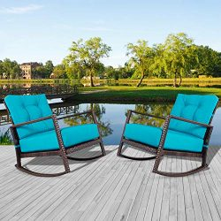 Incbruce Outdoor Patio Rocking Chair 2 Piece Wicker Rocking Bistro Set w/Washable and Thick Cush ...