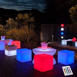 YESIE 16-Inch Cordless LED Cube Chair Light, New Removable and Easy Charging LED Module,Corlor C ...