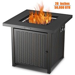 TACKLIFE Fire Table, 28 inch 50,000 BTU Auto-Ignition Outdoor Propane Gas Fire Pit Table with Co ...