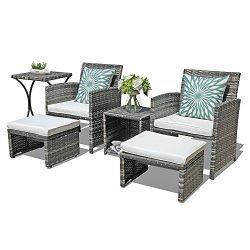 OC Orange-Casual Outdoor Wicker Furniture Set 6 Piece Patio Conversation Chat Set with Ottoman & ...
