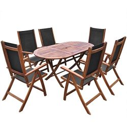 Festnight 7 Piece Wooden Outdoor Patio Dining Set Oval Folding Table with 6 Foldable Five Positi ...