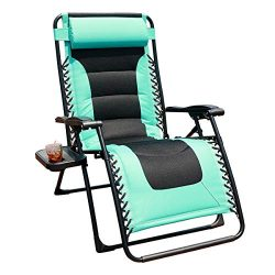 GOLDSUN Oversized Padded Zero Gravity Reclining Chair Adjustable Patio Lounge Chair with Cup Hol ...