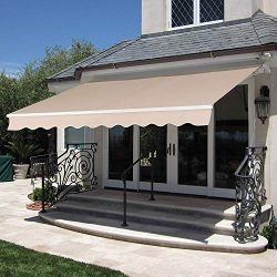 MCombo 12×10 Feet Manual Retractable Patio Door Window Awning Sunshade Shelter Outdoor Cano ...