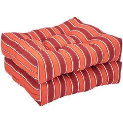 AmazonBasics Round Seat Patio Cushion, Set of 2 – Red Stripes