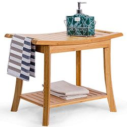 Giantex Bamboo Shower Bench Seat with Storage Shelf, Shower Spa Chair Seat Bench Organizer Stool ...