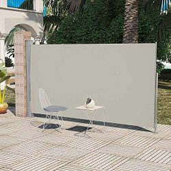 Outdoor Patio Retractable Side Awning, Windscreen Privacy Divider for Terrace, Balcony Cream Col ...