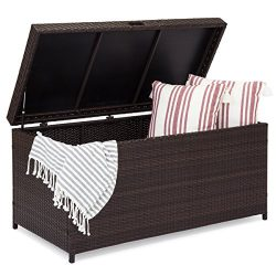 Best Choice Products Outdoor Wicker Patio Furniture Deck Storage Box w/Safety Pneumatic Hinges,  ...