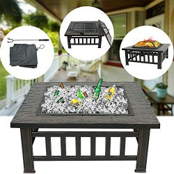 "ZENY Outdoor 32"" Metal Fire Pit BBQ Square Table Backyard Patio Garden Stove Wood Burning  ..."