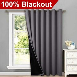 NICETOWN Total Shade Patio Door Curtain, Heavy-Duty Full Light Shading Sliding Door Drape Room D ...