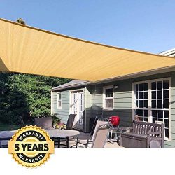 Quictent 185G HDPE Square Sun Shade Sail Canopy 98% UV Block Top Outdoor Cover Patio Garden (20x ...