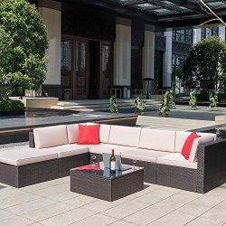 Homall 7 Pieces Outdoor Patio Furniture Sofa Set, All Weather PE Rattan Wicker Sectional Sets Mo ...