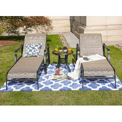 LOKATSE HOME Outdoor Patio Adjustable Metal Chaise Lounge Chair Recliner Set of 2 with 1 Glass T ...