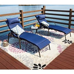 LOKATSE HOME 3 Pieces Outdoor Patio Chaise Lounge Chair Lounger Seating Furniture Set with Cushi ...