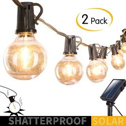 2 Pack Outdoor Solar String Lights-20Ft. Shatterproof G40 Globe Patio Lights with 20 LED Bulbs & ...